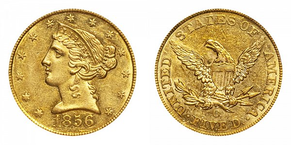 1856 O Liberty Head $5 Gold Half Eagle - Five Dollars