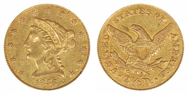 1856 O Liberty Head $2.50 Gold Quarter Eagle - 2 1/2 Dollars