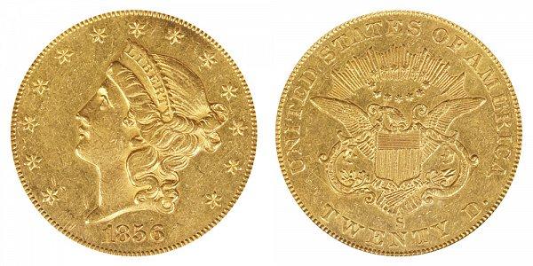 1856 S Liberty Head $20 Gold Double Eagle - Twenty Dollars