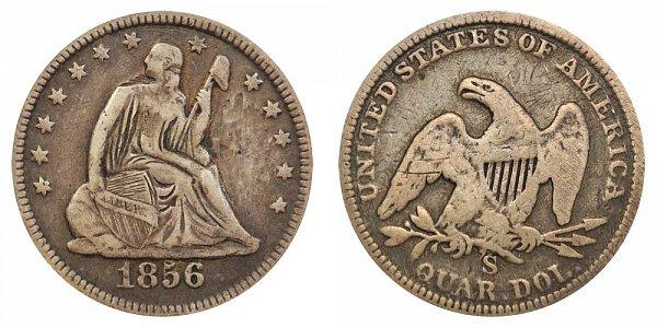 1856 S Seated Liberty Quarter