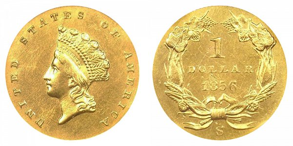 1856 S Small Indian Princess Head Gold Dollar G$1 - Type 2