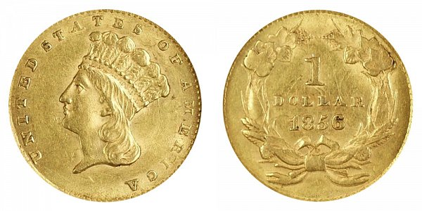 1856 Large Indian Princess Head Gold Dollar G$1 - Slanted 5
