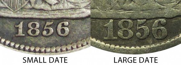 1856 Small Date vs Large Date Seated Liberty Dime - Difference and Comparison