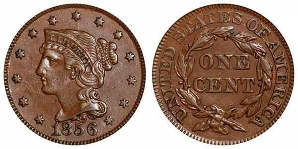 1856 Braided Hair Large Cent Penny - Upright 5