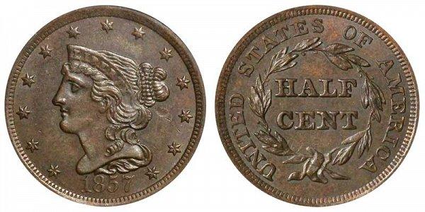 1857 Braided Hair Half Cent Penny