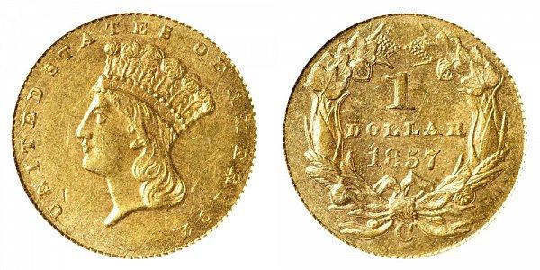 1857 C Large Indian Princess Head Gold Dollar G$1