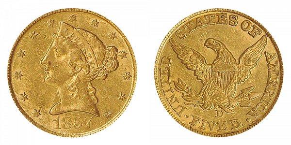 1857 D Liberty Head $5 Gold Half Eagle - Five Dollars