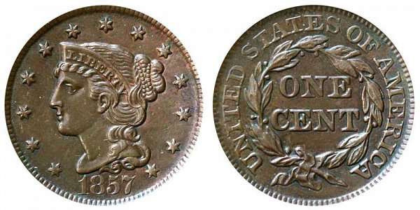 1857 Braided Hair Large Cent Penny - Large Date