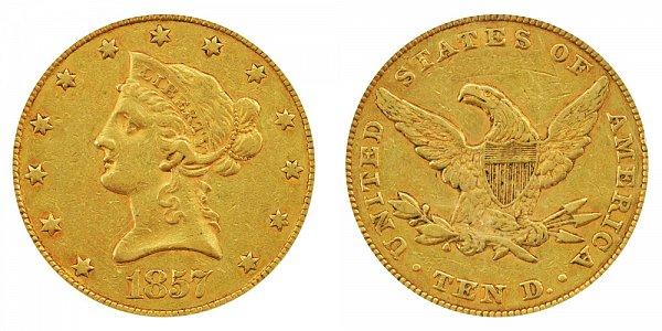 1857 Liberty Head $10 Gold Eagle - Ten Dollars