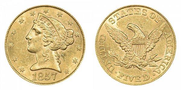 1857 Liberty Head $5 Gold Half Eagle - Five Dollars