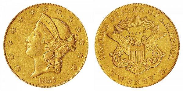 1857 O Liberty Head $20 Gold Double Eagle - Twenty Dollars