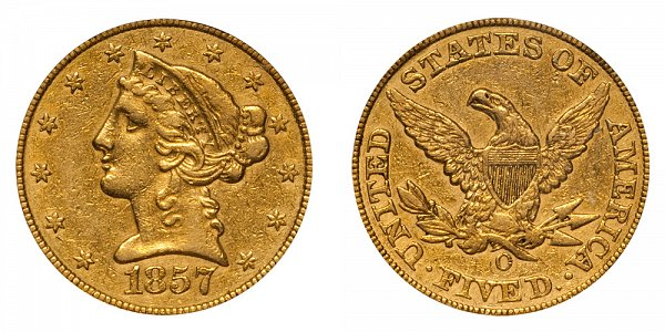 1857 O Liberty Head $5 Gold Half Eagle - Five Dollars