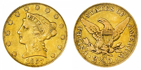 1857 O Liberty Head $2.50 Gold Quarter Eagle - 2 1/2 Dollars
