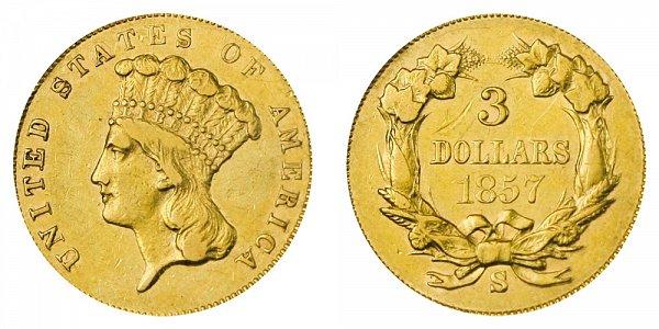 1857 S Indian Princess Head $3 Gold Dollars - Three Dollars