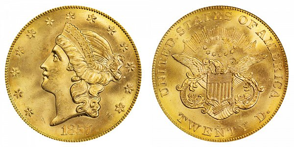 1857 S Liberty Head $20 Gold Double Eagle - Twenty Dollars