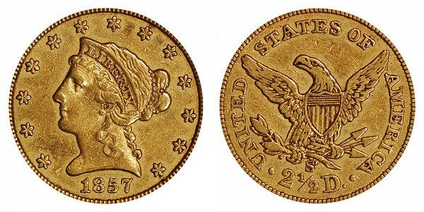 1857 S Liberty Head $2.50 Gold Quarter Eagle - 2 1/2 Dollars