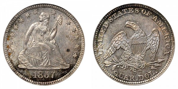 1857 S Seated Liberty Quarter