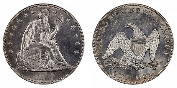 1857 Seated Liberty Silver Dollar