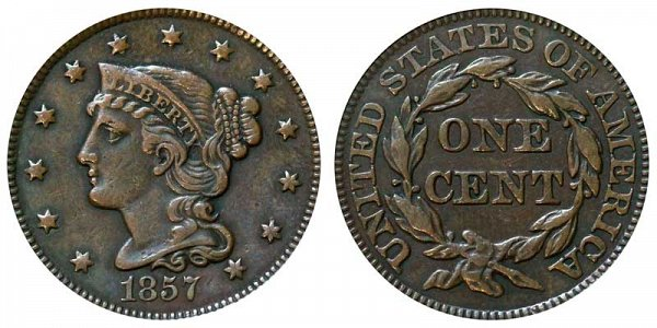 1857 Braided Hair Large Cent Penny - Small Date