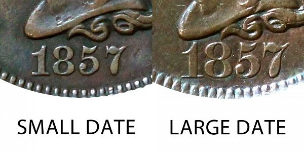 1857 Braided Hair Large Cent Penny - Small Date vs Large Date