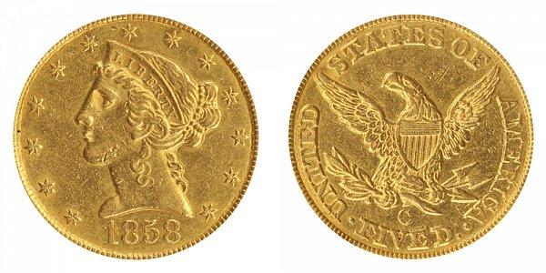 1858 C Liberty Head $5 Gold Half Eagle - Five Dollars