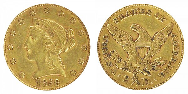 1858 C Liberty Head $2.50 Gold Quarter Eagle - 2 1/2 Dollars