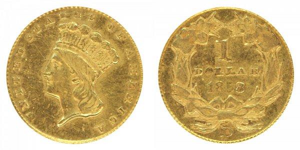 1858 D Large Indian Princess Head Gold Dollar G$1