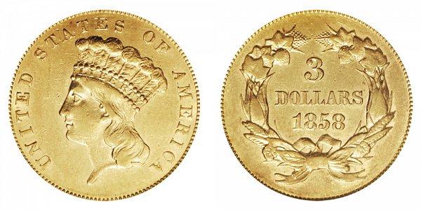 1858 Indian Princess Head $3 Gold Dollars - Three Dollars