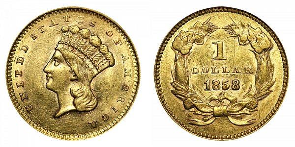 1858 Large Indian Princess Head Gold Dollar G$1