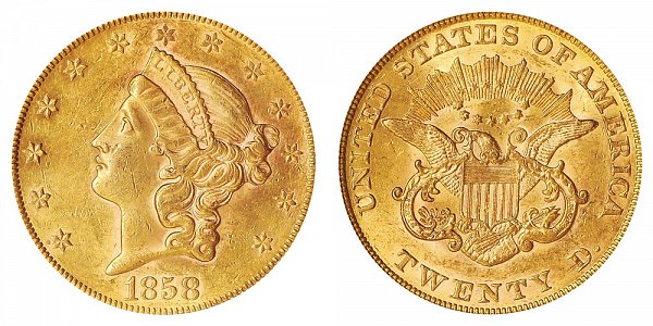 1858 Liberty Head $20 Gold Double Eagle - Twenty Dollars