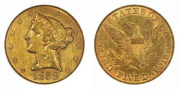 1858 Liberty Head $5 Gold Half Eagle - Five Dollars