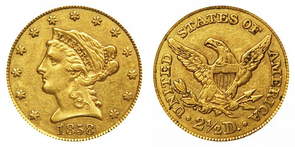1858 Liberty Head $2.50 Gold Quarter Eagle - 2 1/2 Dollars