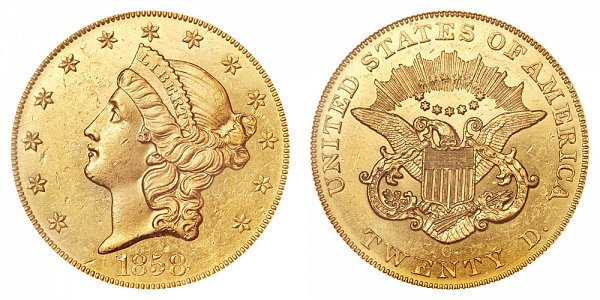 1858 O Liberty Head $20 Gold Double Eagle - Twenty Dollars