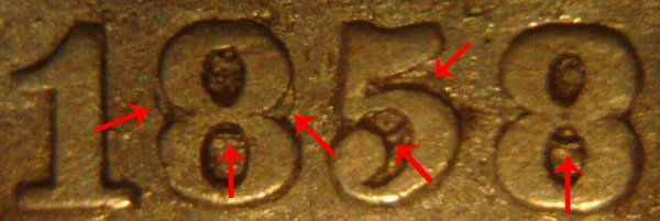 1858 Repunched Doubled Date Seated Liberty Half Dime