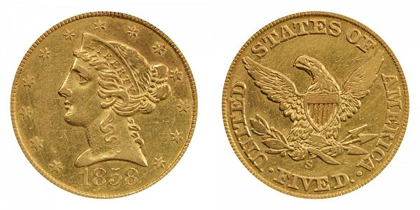 1858 S Liberty Head $5 Gold Half Eagle - Five Dollars