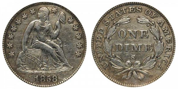 1858 S Seated Liberty Dime