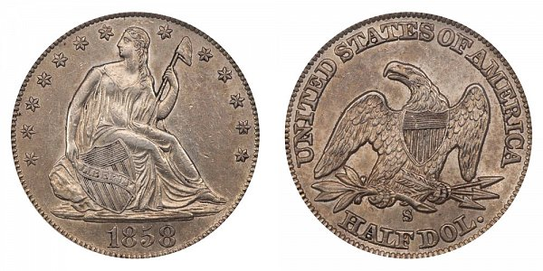 1858 S Seated Liberty Half Dollar