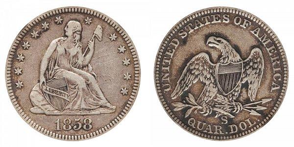 1858 S Seated Liberty Quarter