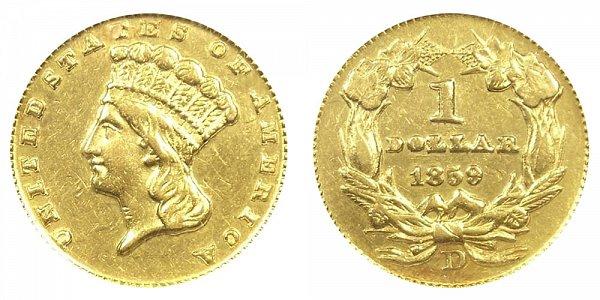 1859 D Large Indian Princess Head Gold Dollar G$1