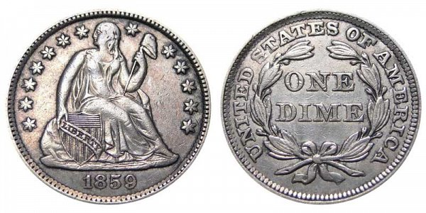 1859 Seated Liberty Dime - Legend On Reverse