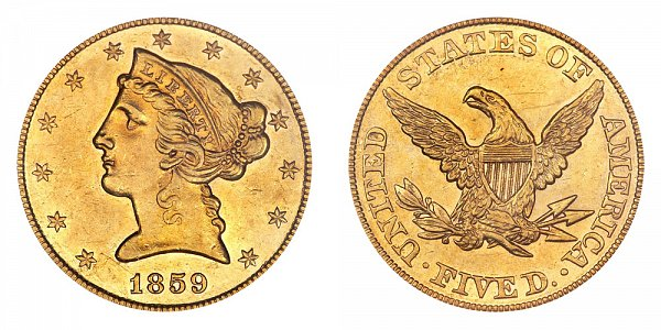 1859 Liberty Head $5 Gold Half Eagle - Five Dollars