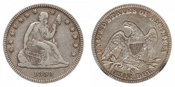 1859 S Seated Liberty Quarter