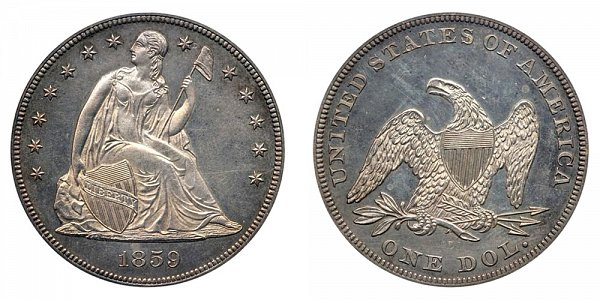 1859 Seated Liberty Silver Dollar