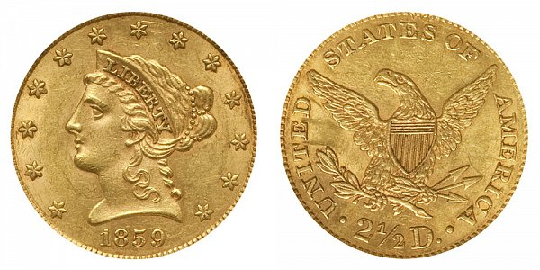 1859 Liberty Head $2.50 Gold Quarter Eagle - New Reverse - Type 2