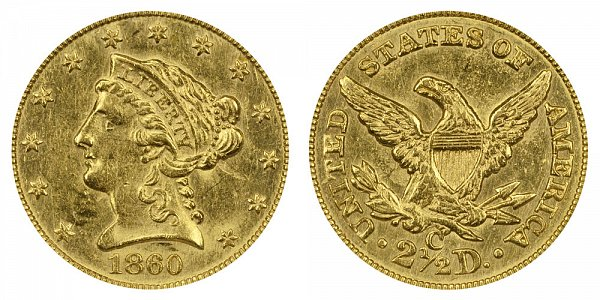 1860 C Liberty Head $2.50 Gold Quarter Eagle - 2 1/2 Dollars