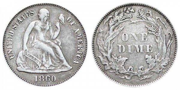 1860 Seated Liberty Dime - Legend On Obverse