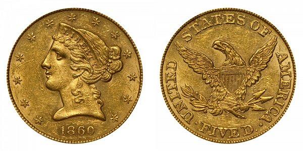 1860 Liberty Head $5 Gold Half Eagle - Five Dollars
