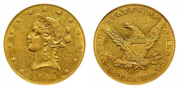 1860 O Liberty Head $10 Gold Eagle - Ten Dollars