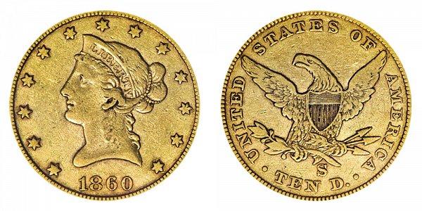 1860 S Liberty Head $10 Gold Eagle - Ten Dollars