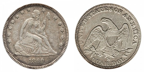1860 S Seated Liberty Quarter